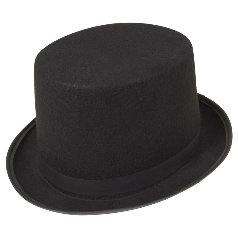 Tall Black Felt Top Hat Super quality tall black felt topper hat. Great hat which is also useful for Halloween costumes for example Jack the Ripper, Victorian times or showtime costumes. Extra tall black felt top hat with a black brim and ribbon hat band.