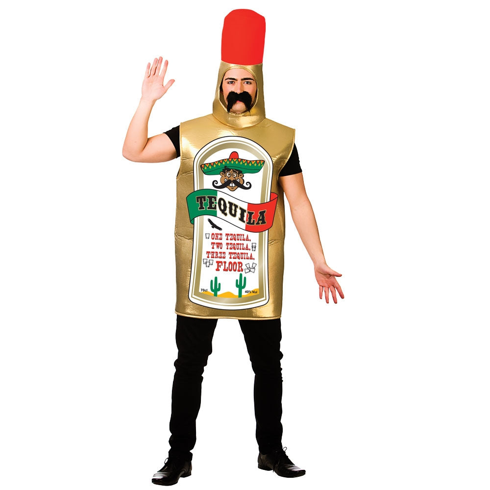 Tequila Bottle Adult Costume includes a one piece foam Tequila Bottle body suit.
