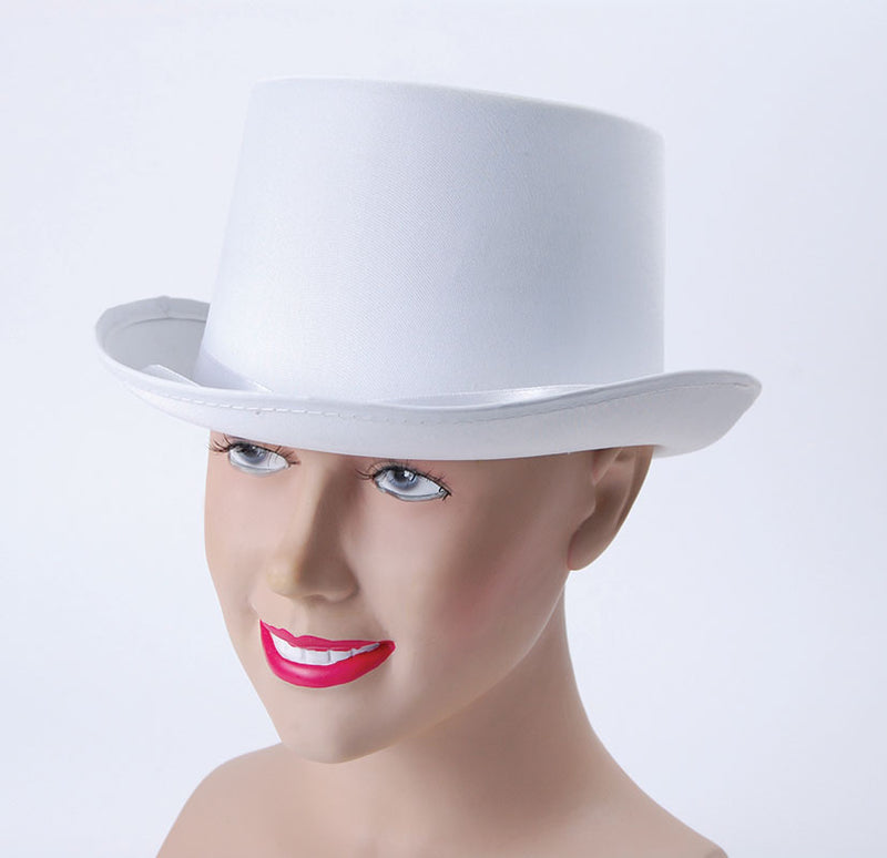 Top Hat White Satin Look