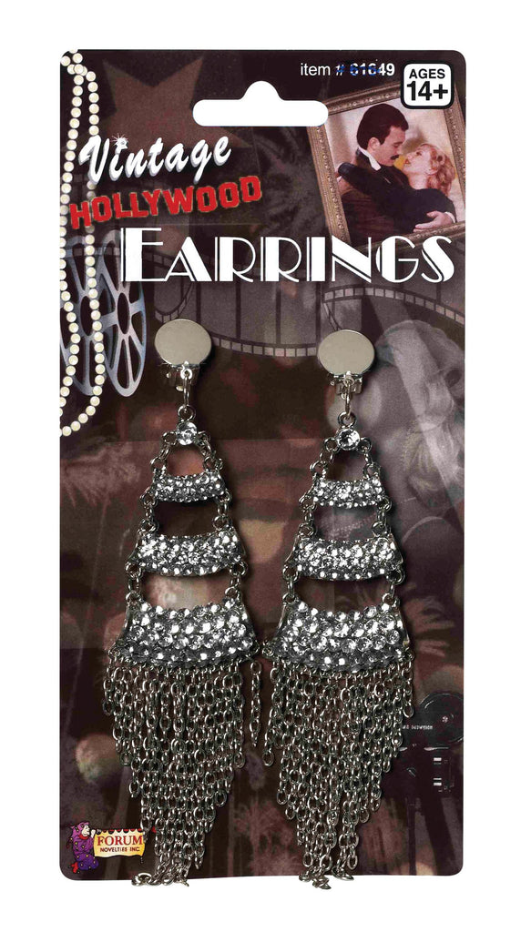 Vintage Rhinestone and Chain Earrings