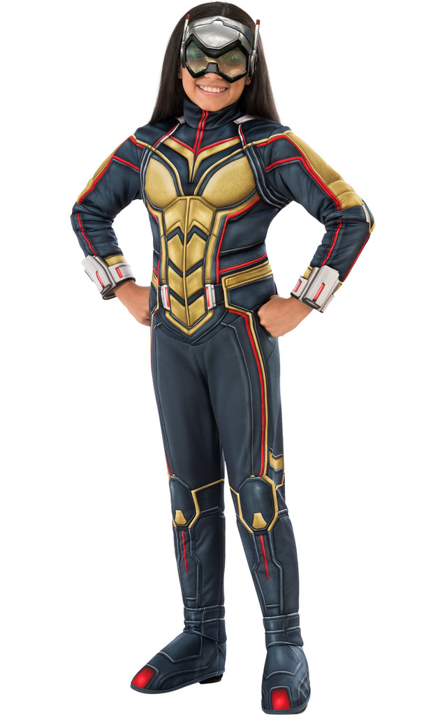 Girls Wasp costume includes a blue and gold jumpsuit and a Wasp mask will have your child looking just like the Wasp.