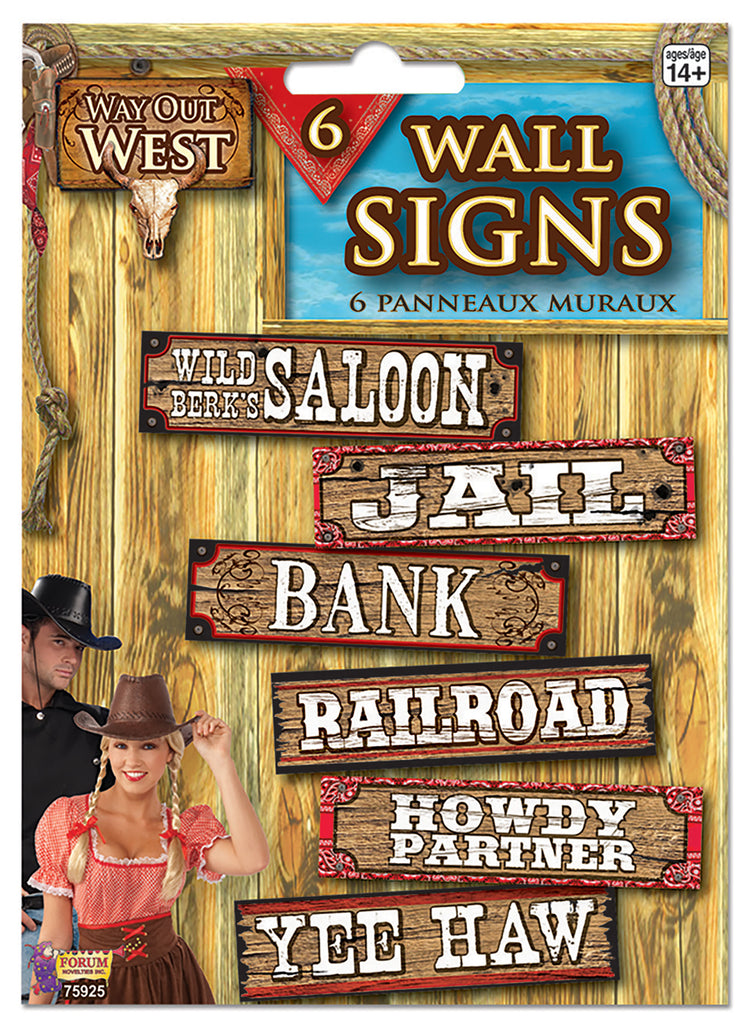 Way Out West 6 Wall Signs Decorations