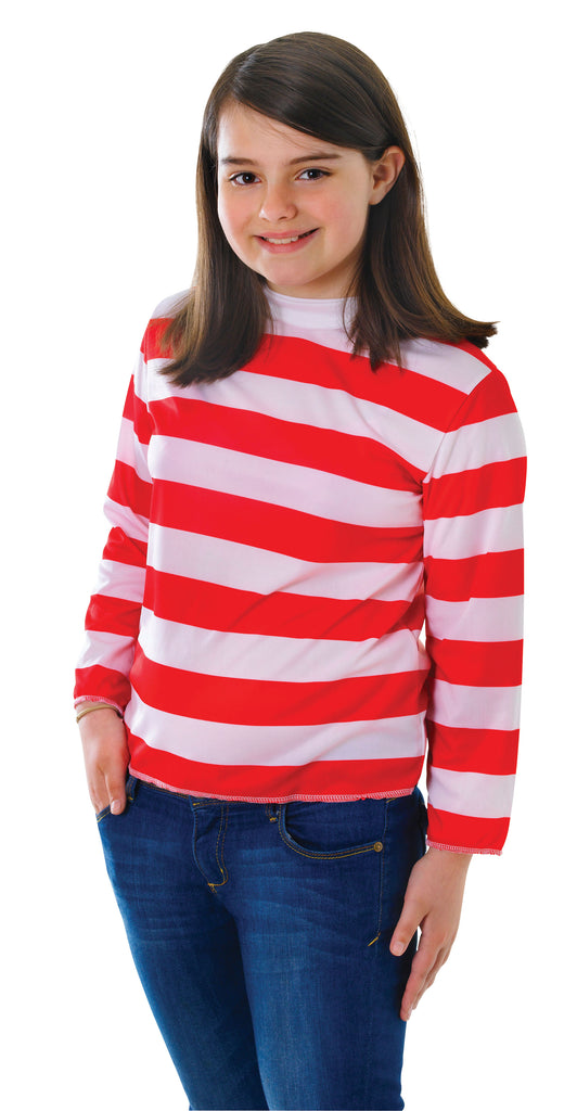 Wheres Wenda Red And White Striped top for girls.