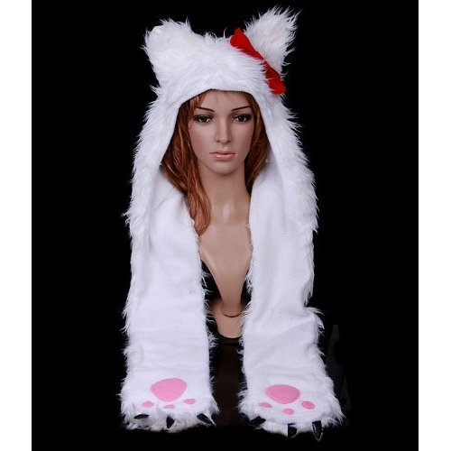 White Cat Plush Hat with Paws