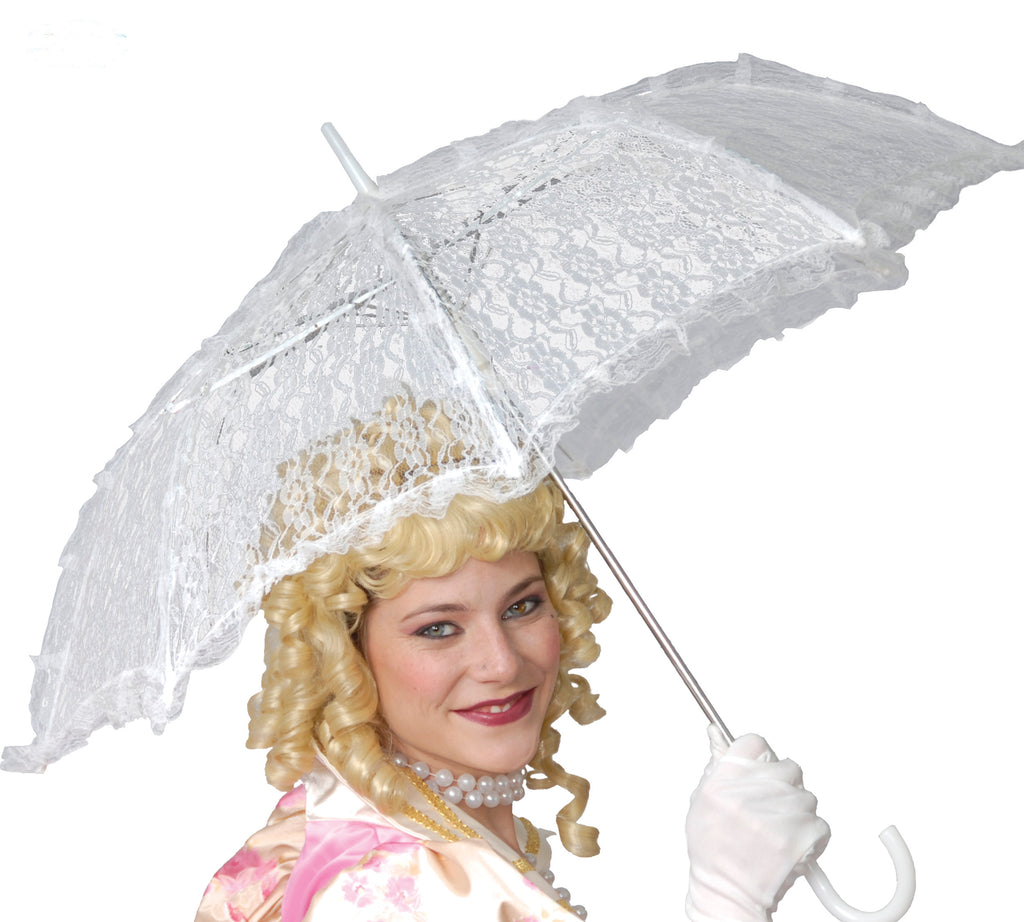 Ladies Victorian Edwardian White Lace Parasol umbrella.