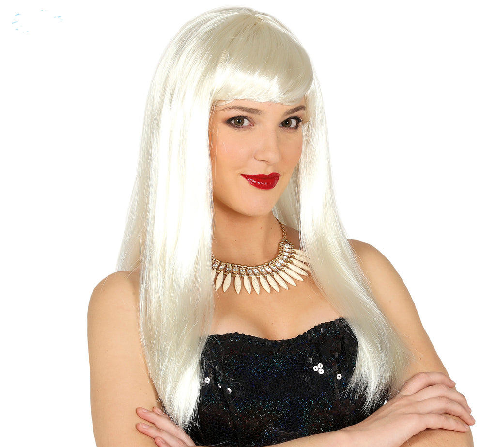 Long White ladies Wig