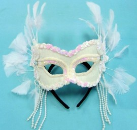 White Velvet Mask With Feathers on Headband Masquerade Mask