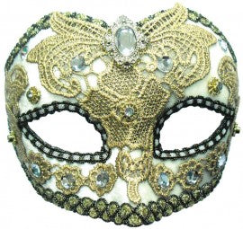 White and Gold Mask with Jewel on a Headband