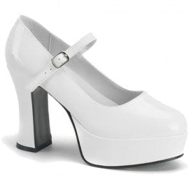 Womens White Mary Jane Platform Shoes