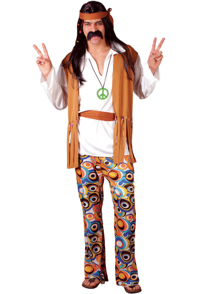 Men's Woodstock 1960's Hippie Fancy Dress Costume