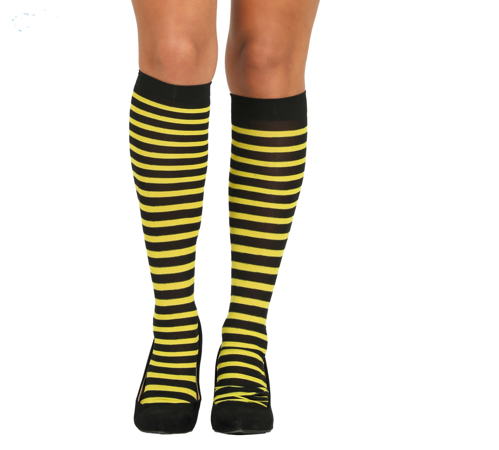 Yellow and Black Striped Thigh Highs