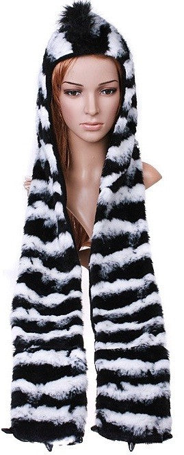 Zebra Plush Hat With Paw Scarf