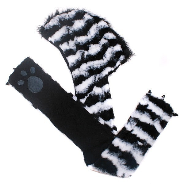Zebra Plush Hat With Paw Scarf side.