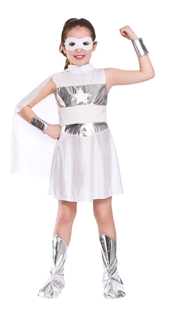 girls superhero costume white