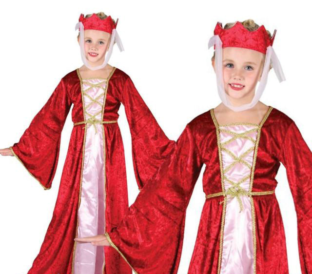 Medieval Princess Costume Girls Red