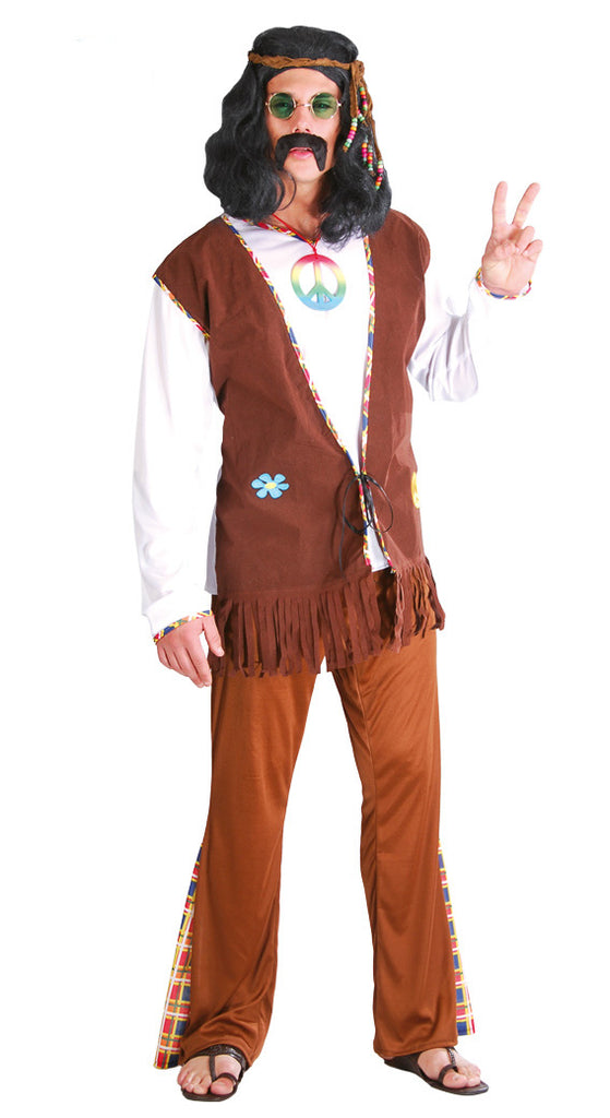 Men's adult 60's Flower Hippie fancy dress Costume