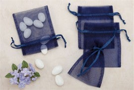 Navy Sheer Organza Bags Medium