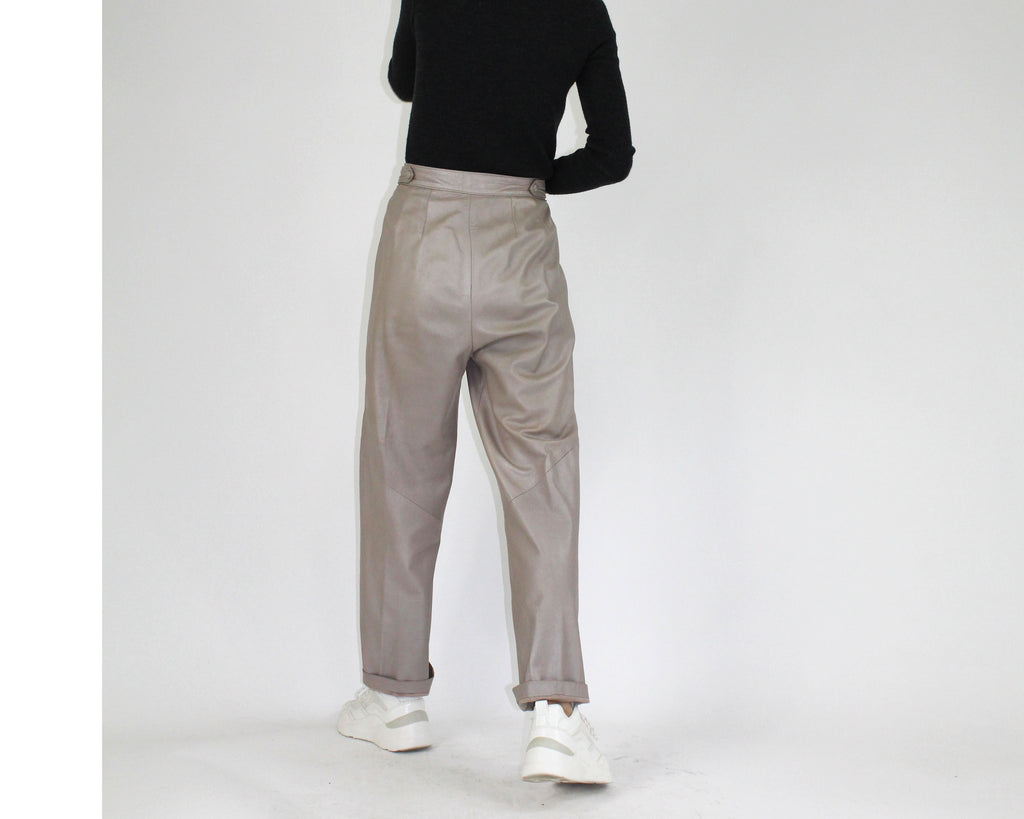Pleated Leather Pants