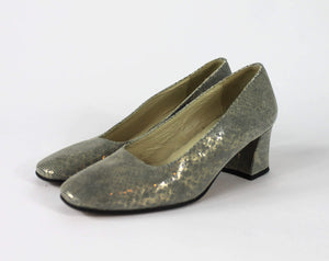 Metallic Low Block Heel Pumps