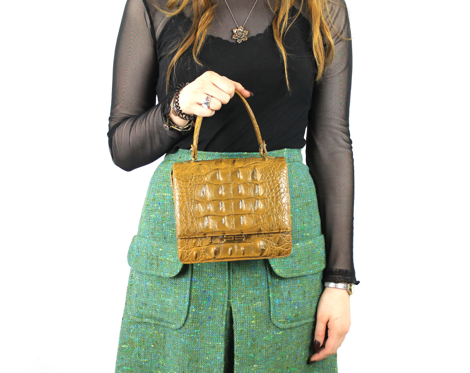 Leather Structured Alligator Handbag