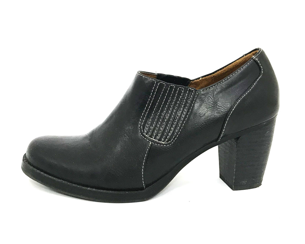 Pleather Block Heel Ankle Boots