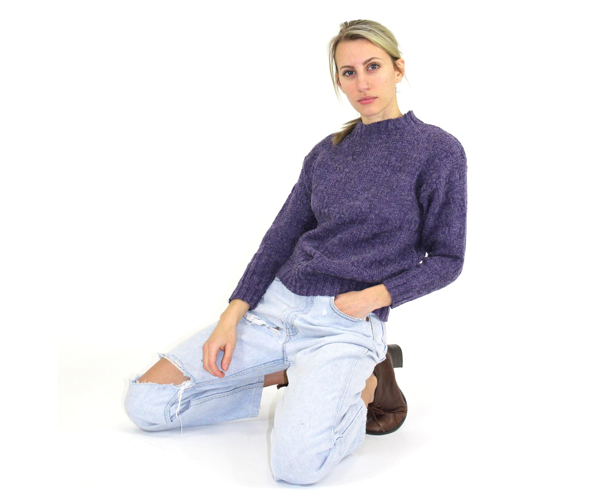 Purple Knit Crewneck