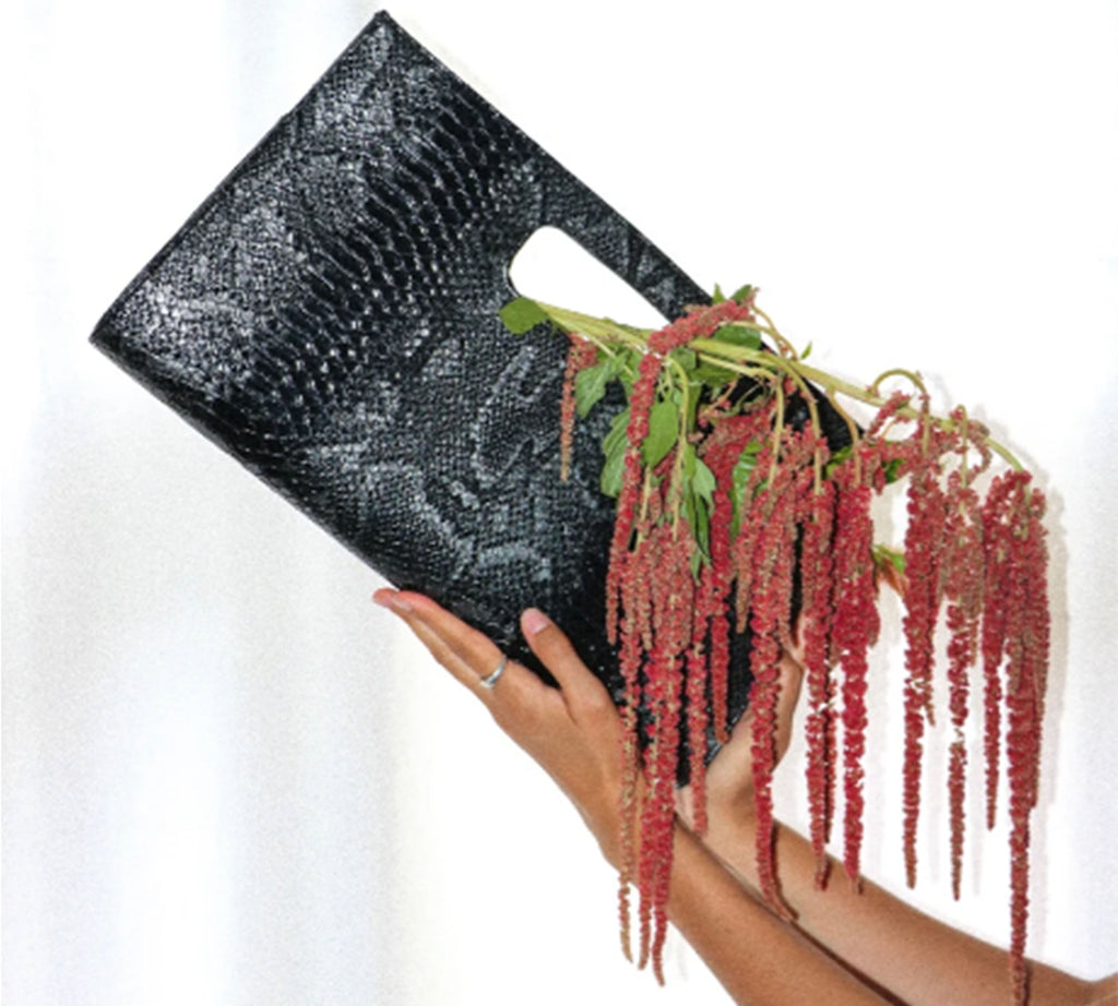 Structured Faux Snakeskin 90s Clutch
