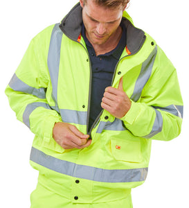 Hi Vis Yellow Bomber Jacket winter safety coat LESH