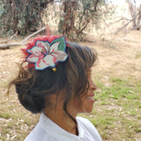 Red tropical Feather Head Piece