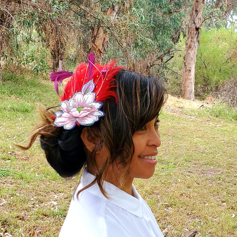 Blooming from within Feather Head Piece