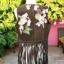 Cherry Blossom Dreams Leather Vintage  Fringe Vest