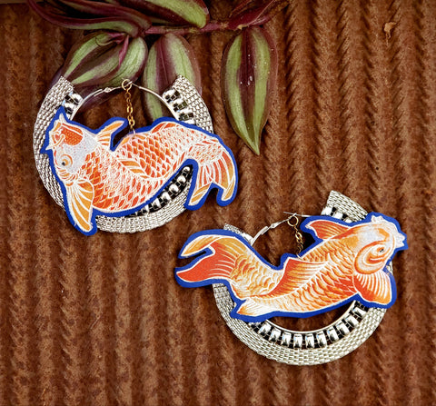 Koi Fish Hoop Earrings
