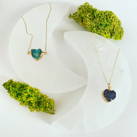 Teal Druzy Mini Heart Necklace