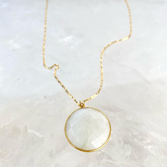 Moonstone Moon Necklace