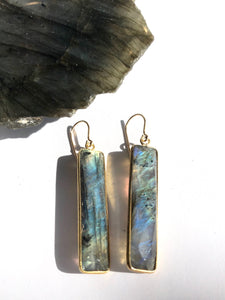 Long Labradorite Rectangle Earrings