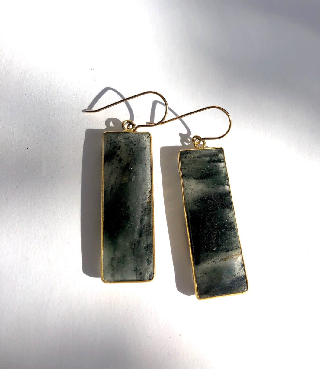 Large Moss Agate Rectangle Earrings