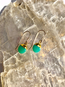 Mini Chrysoprase Chunk Earrings4