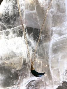 Onyx Crescent Moon Necklace