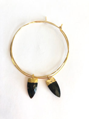 Onyx Dagger Gold Hoops