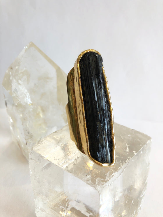 Black Tourmaline Chunk Ring