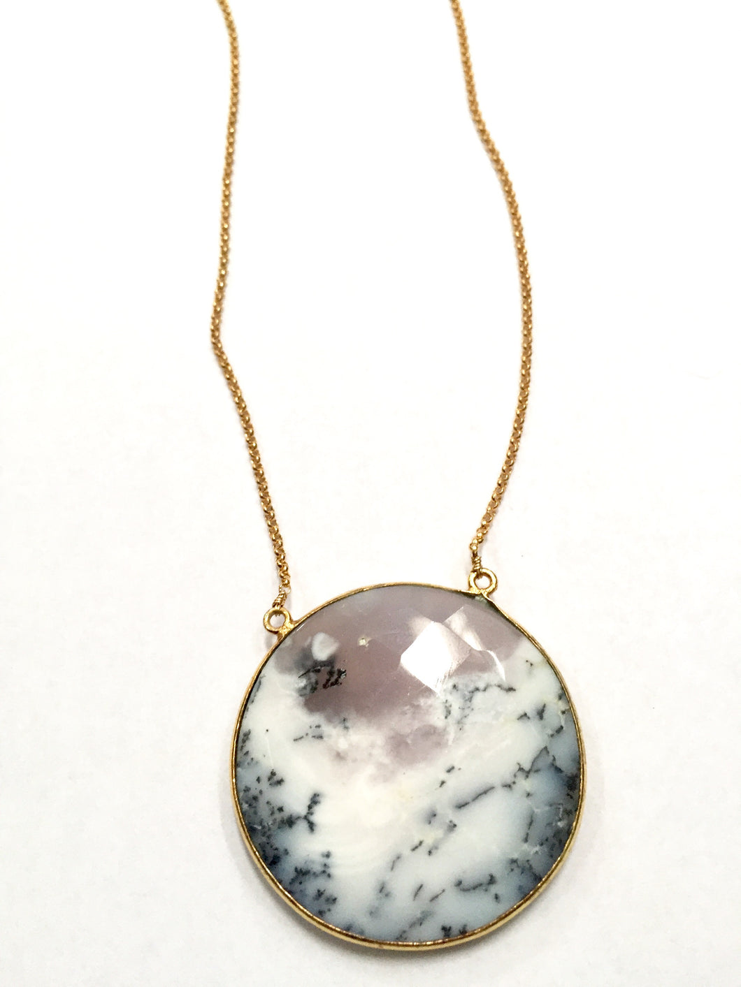 Dendrite Agate Moon Necklace