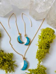 Turquoise Crescent Moon Earrings