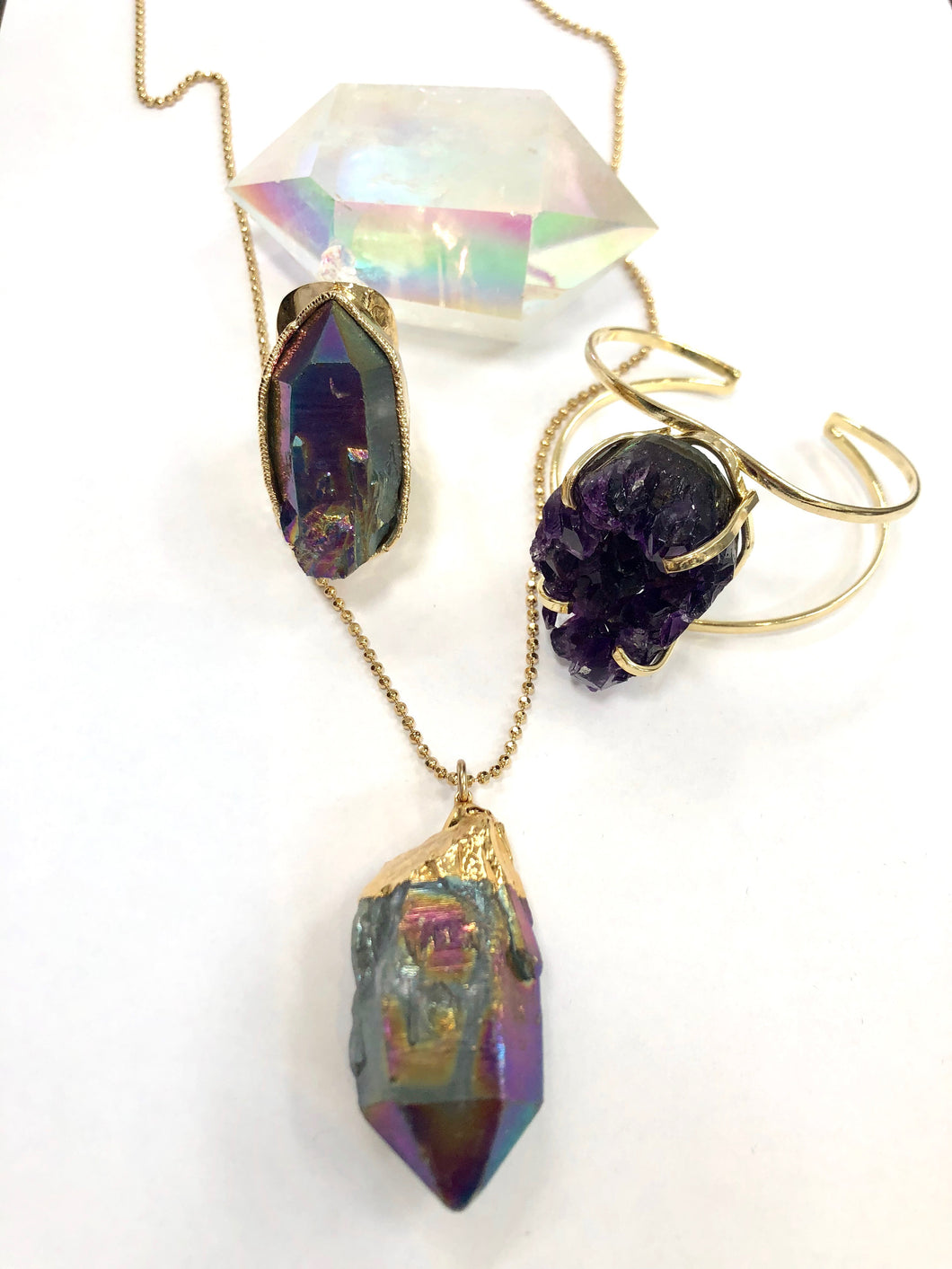 Rainbow Aura Quartz Necklace