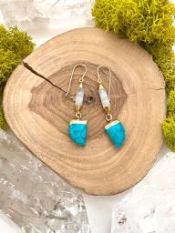 Turquoise Howlite & Moonstone Earrings