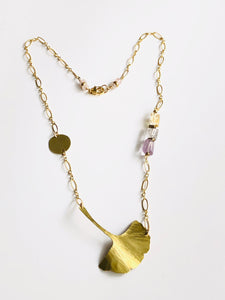 Ginkgo Leaf Necklace with brass, citrine, quartz & amethyst gemstone beads
