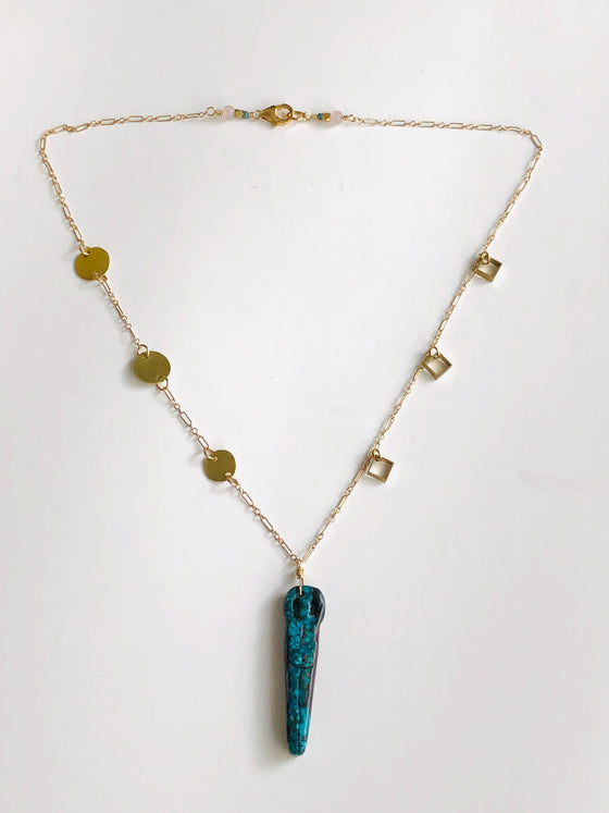 Brass & Turquoise Woman Necklace