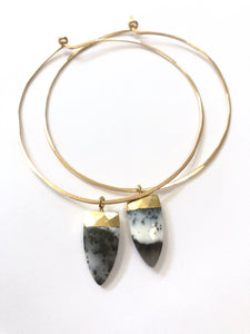 Dendrite Agate Gold Hoops