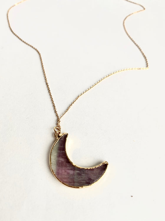 Fluorite Crescent Moon Necklace