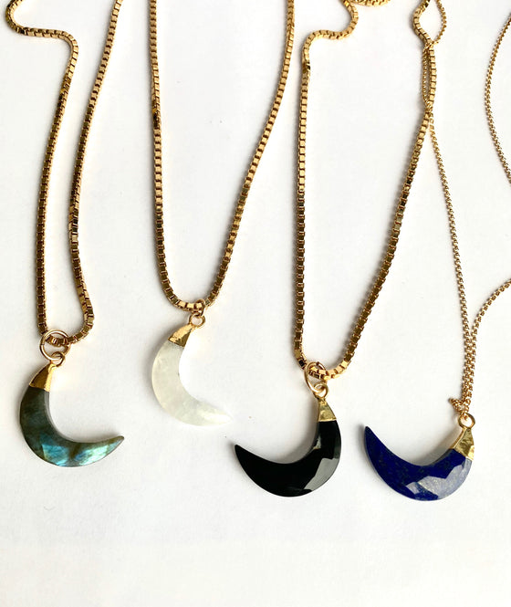 Jumbo Labradorite Crescent Moon with Box Chain
