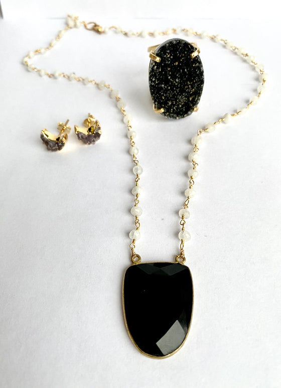Onyx and Moonstone Necklace